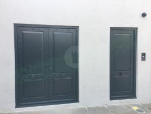 Fort Security Doors Replica Double And Single Door With Rivets And Fingerprint Scanner