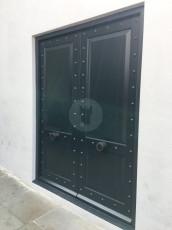 Fort Security Doors Replica Double Door With Fingerprint Scanner And Rivets