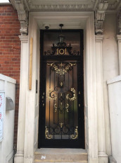 Fort Security Doors Replica Stainless Steel Front Door With Gold Trim And Transom (installed) 2