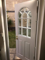 Fort Security Doors Single Front Door With Curved And Patterned Glass (inside)