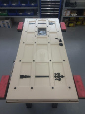 Fort Security Doors White Replica Front Door With Black Studs In Assembly Area 2