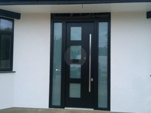 Fort Security Doors Contemporary Single Front Door With 2 Glazed Side Panes And Squared Glass On Door 2
