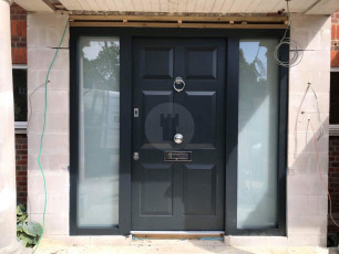 Fort Security Doors Contemporary Door With Fingerprint Reader And 2 Large Side Glazed Panels