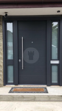 Fort Security Doors Contemporary Entrance Door With 2 Glazed Side Panels