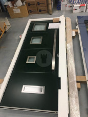 Fort Security Doors Contemporary Entrance Door With 3 Glazed Windows Ready For Distribution