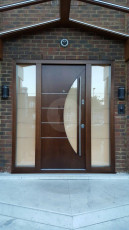 Fort Security Doors Contemporary Front Door With 2 Glazed Side Panels And Semi Circle Glass On Door