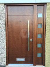 Fort Security Doors Contemporary Front Door With Okume Wood Finish And 1 Glazed Side Panel 2