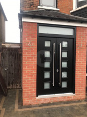 Fort Security Doors Contemporary Front Door With Tandsom And 10 Glazed Panels