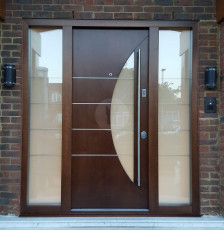 Fort Security Doors Single Door With 2 Side Glazed Panels And Shaped Glass On Door