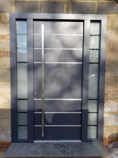 Fort Security Contemporary Front Door With 2 Glazed Side Panels